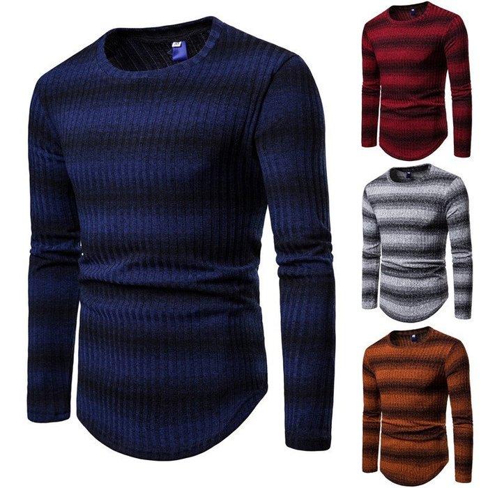 『潮范』 WS11 外貿男士條紋毛衣 漸變圖案針織衫 圓領厚圖案毛衣 線衣 條紋針織衫NRG2727