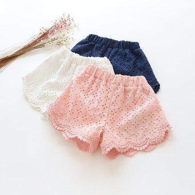 艾町Eyeing Shop🈶現貨不用等 粉色 韓版女童夏季時尚甜美鏤空蕾絲百搭短褲