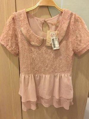 小花別針、專櫃品牌【olive des olive'】粉色蕾絲上衣