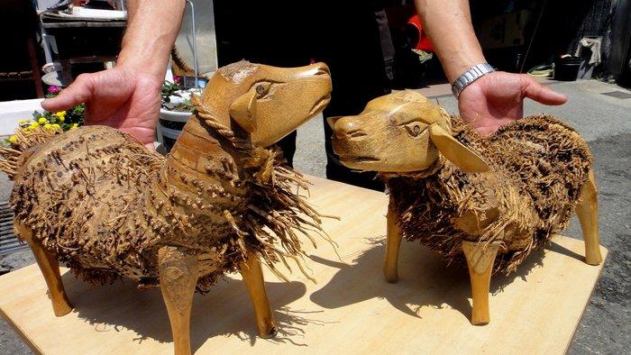 [福田工藝]竹雕羊妹妹一對