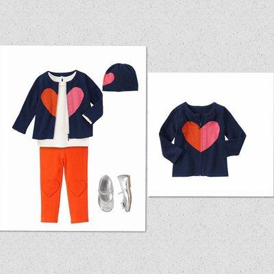 美國GYMBOREE正品 Heart Zip-up Cardigan藍色愛心毛衣外套18~24m.2T...售430元