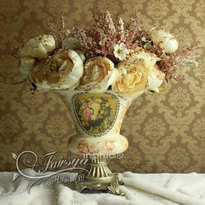 INPHIC-歐式家居擺設裝飾仿真植物花卉絹花幻彩白粉花瓶花藝套裝