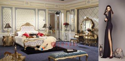 [紅蘋果傢俱] GT014 洛克思瑞系列 歐式床 法式床 新古典 布/皮床 雙人 加大 實木雕刻  洛可可 實體賣場