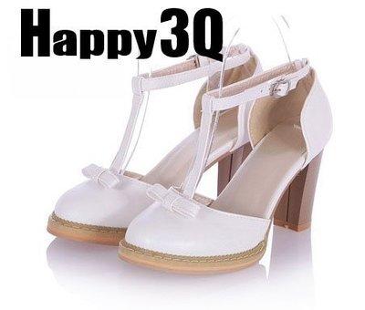氣質甜美T字扣搭蝴蝶結高跟涼鞋粗跟高跟鞋-紫/白/粉/藍33-43【AAA0041】預購