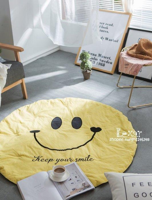水洗棉笑臉好心情刺繡圓形寶寶蓋毯兒童白領女神休閒舒適午休毯子