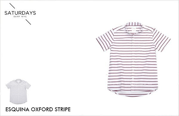 WaShiDa【236】SATURDAYS NYC 美國品牌 Esquina Oxford Stripe 短袖 條紋襯衫