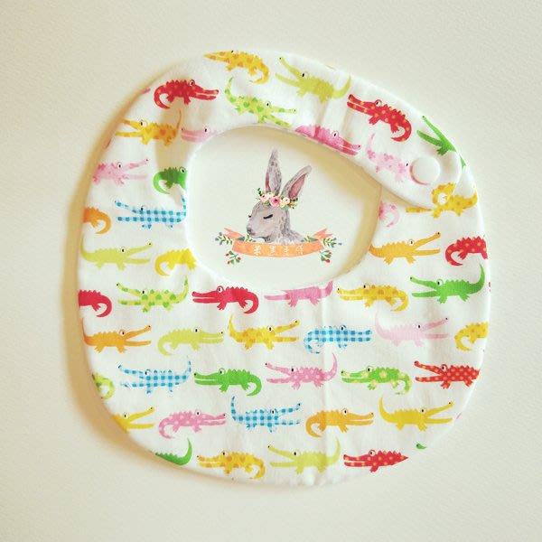 米咕手作 △ 寶寶六重紗 圍兜兜 / 口水巾 / 領巾 |鱷魚|