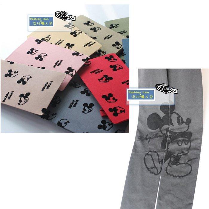 迪士尼小米奇圖案植絨 多色彈力彩色糖果 /左右拼接滿版米奇米妮 黑色天鵝絨褲襪 2件免運!
