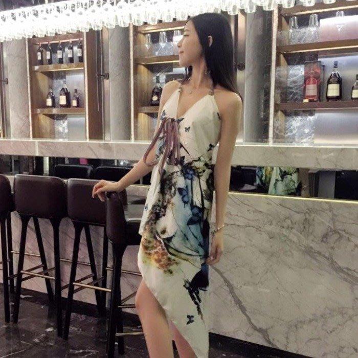 吊帶裙 2019韓版時尚氣質波西米亞不規則掛脖無袖度假蝴蝶沙灘裙連衣裙女
