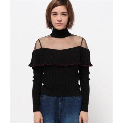 日貨 全新 Lily Brown 黑色薄紗拼接針織上衣
