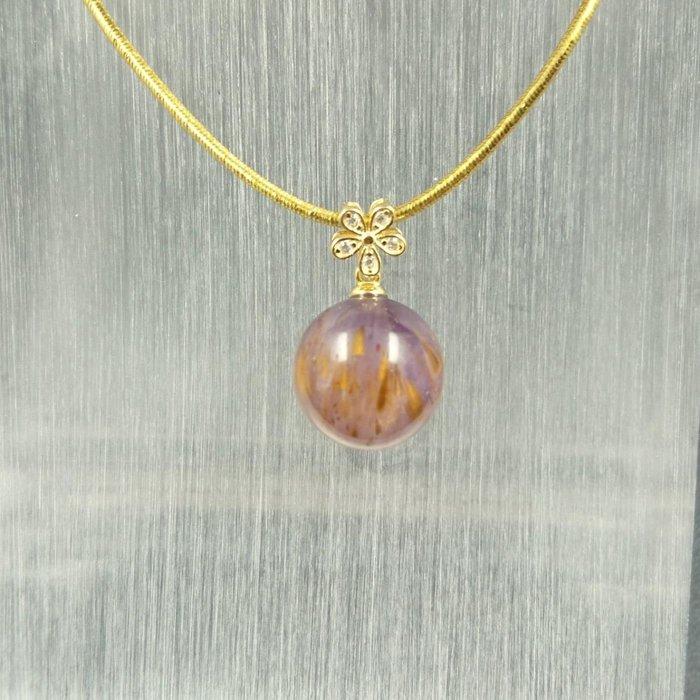 ~水晶花園~ 極光23紫鈦晶墜子(不含鍊子)(純銀)