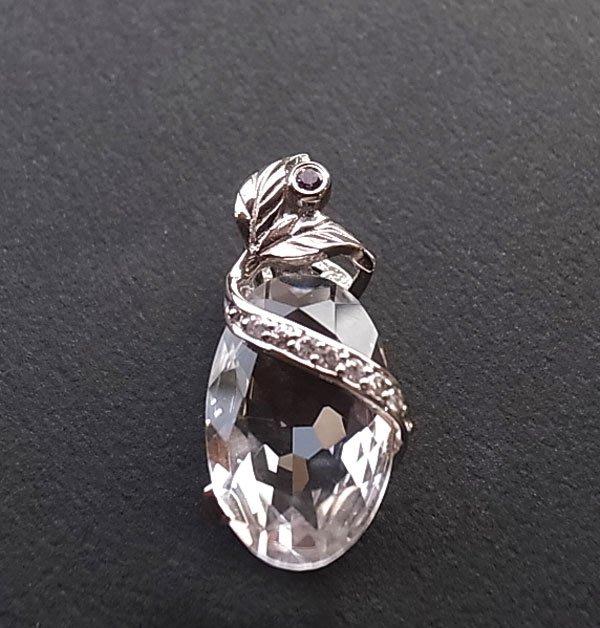 ☆采鑫天然寶石☆ * 希望* 頂級天然白水晶珠寶切工造型墜~璀璨亮眼