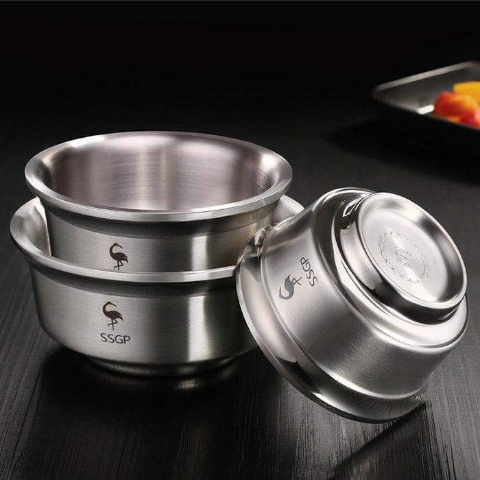 廚房用品雙層隔熱304不鏽鋼加深防滑碗雙層湯碗防燙碗(14cm)E132