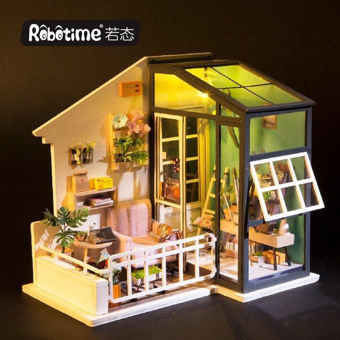 【童妡小屋】 南風小憩  進階款木製模型 DIY小屋袖珍屋 附LED燈