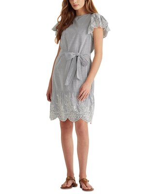 Ralph Lauren Eyelet Cotton Flutter-Sleeve Dressf6/14止