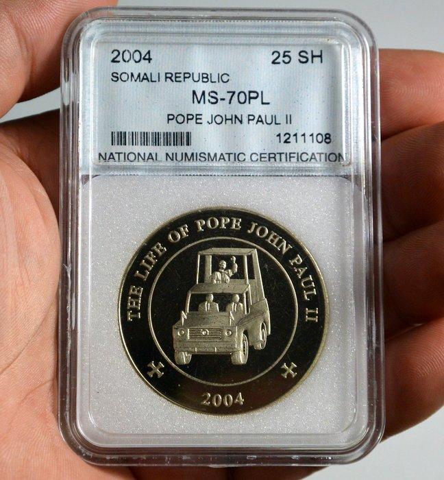 評級幣 索馬利亞 2004年 25 Shillings  教皇約翰·保羅二世的生平 紀念幣 鑑定幣 NNC MS70PL
