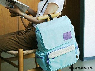 HAPPY+【V5159】日式小清新原創 包包 糖果色 雙肩包 帆布包 後背包 書包 馬卡龍色系 時尚 簡約