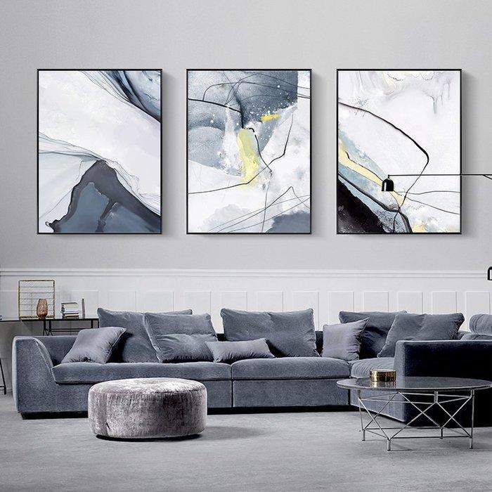 掛畫現代簡約抽象客廳墻面裝飾畫三聯畫北歐沙發背景墻壁豎版藝術掛畫台北百貨