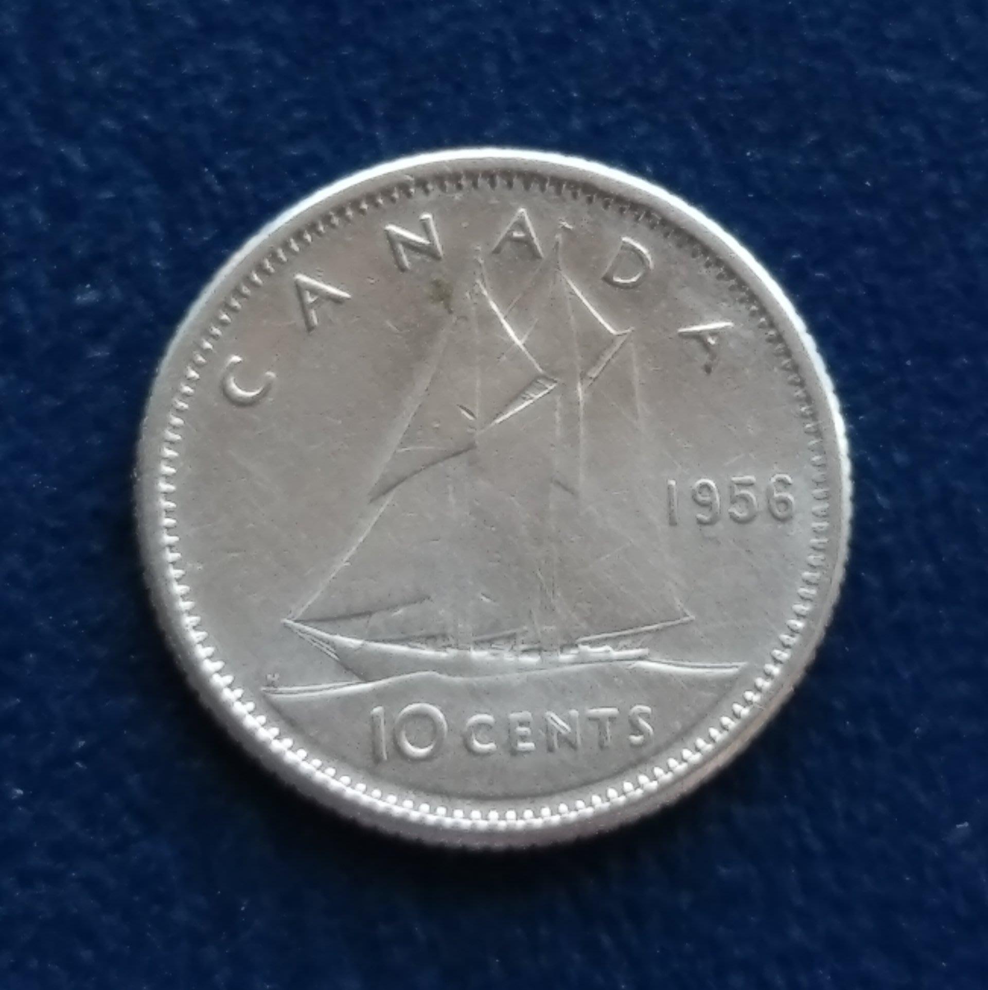 加拿大 CANADA 1956  伊莉沙白二世  10分  銀幣(80%)   280-395