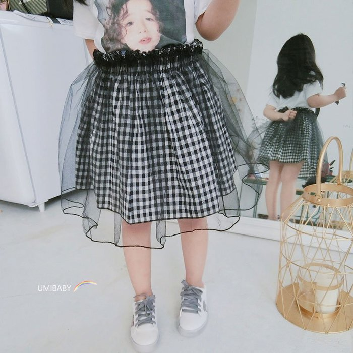 2019新款夏裝兒童半身裙格子女童蓬蓬網紗裙假兩件紗裙公主寶寶裙全館免運