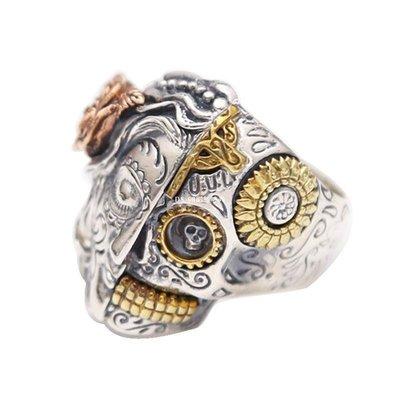 DS_08網紅時尚S925純銀戒指瑪麗亞GU鑲銅半邊骷髏頭美女超寬版泰銀特色男食指環