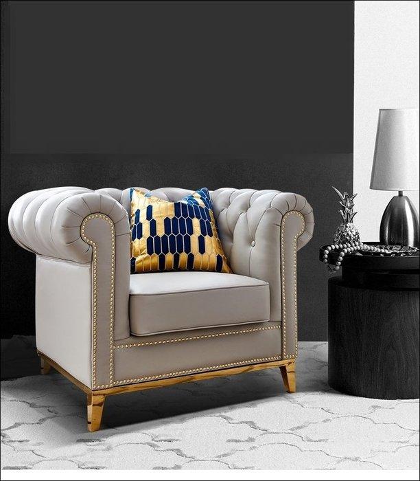美式風 單人座真皮沙發 輕奢華設計金屬鉚釘米白/灰藍 另有三人椅二人座主人椅貴妃椅後現代簡約風客廳椅客人椅【歐舍傢居】