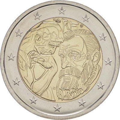【幣】EURO 法國2017年發行 藝術家羅丹逝世100周年紀念 2歐元紀念幣
