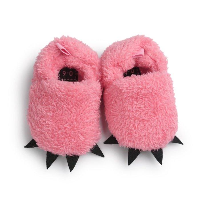 森林寶貝屋~粉色怪獸爪子鞋~學步鞋~保暖鞋~寶寶鞋~嬰兒鞋~童鞋~學走鞋~鬆緊帶設計~彌月贈禮~特價