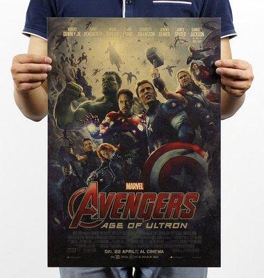 【貼貼屋】(超高清) 復仇者聯盟2 AvengersII 鋼鐵人 美國隊長 牛皮紙 電影海報 懷舊復古 385