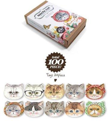 ☆Eric Zakka☆韓國 貓叔叔盒裝貼紙書籤套裝貼紙70枚+貓書籤20+小卡片10張貼紙套裝【現貨】JO0765