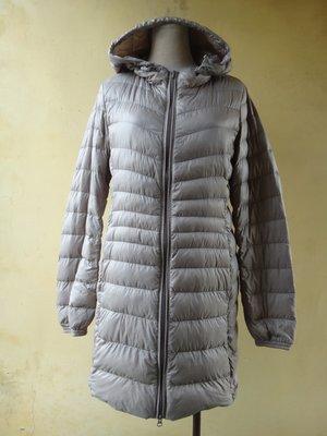 jacob00765100 ~ 正品 日本品牌 Uniqlo 芋色 連帽 輕羽 長版羽絨外套 size: M