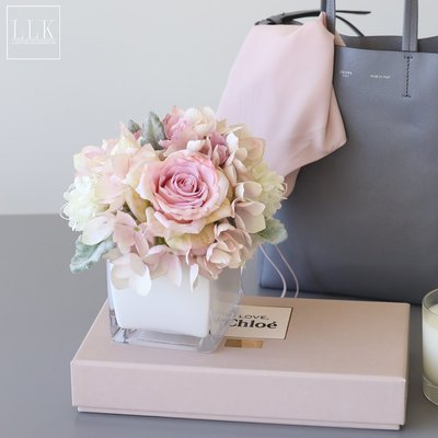賓士印象~ladylike假花仿真絹花玫瑰繡球組合套裝桌面擺件家居軟裝飾品