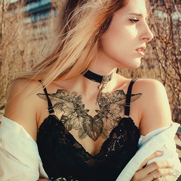 【萌古屋】自然植物胸部胸下手臂大圖 - 男女防水紋身貼紙原宿刺青貼紙BC-304 K72