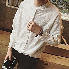 逆主流  日系秋季新款立領襯衫麻料百搭長袖素色襯衫