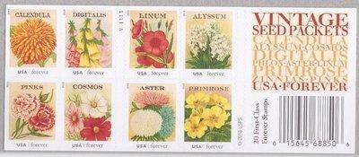 2013年美國復古花卉自黏郵票booklet(雙面)