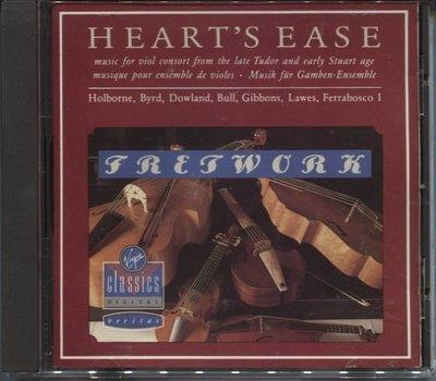 R古典(二手CD)HEART'S EASE:Music for viol consort FRETWORK~1988年西德版~無IFPI 台北市