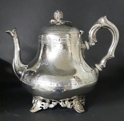 445高檔英國鍍銀壺 Vintage Silverplate Ornate teapot