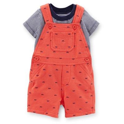 【Carters 卡特】Carter's 美國正品 條紋短袖T恤+珊瑚紅吊帶褲 男寶寶兩件組  USA美國精品時尚小舖