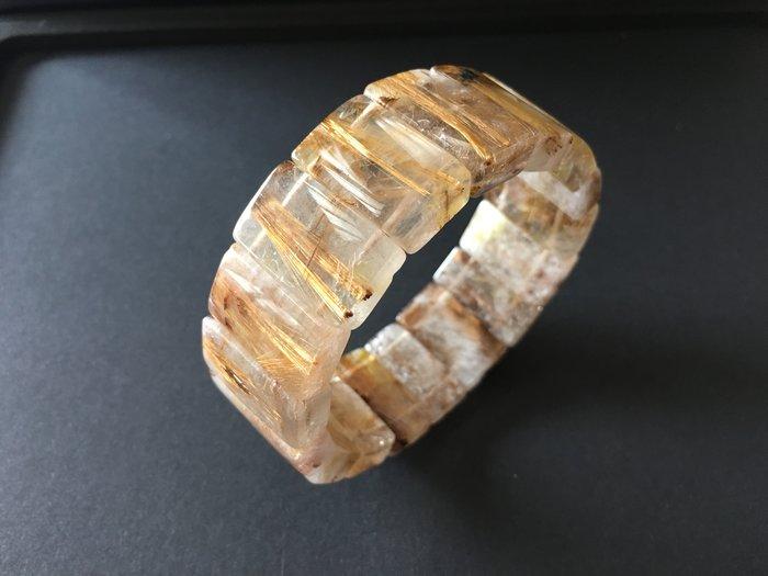 *藏雅軒*能量珠寶水晶之王-帶母礦紅銅鈦鈦晶手排-76g