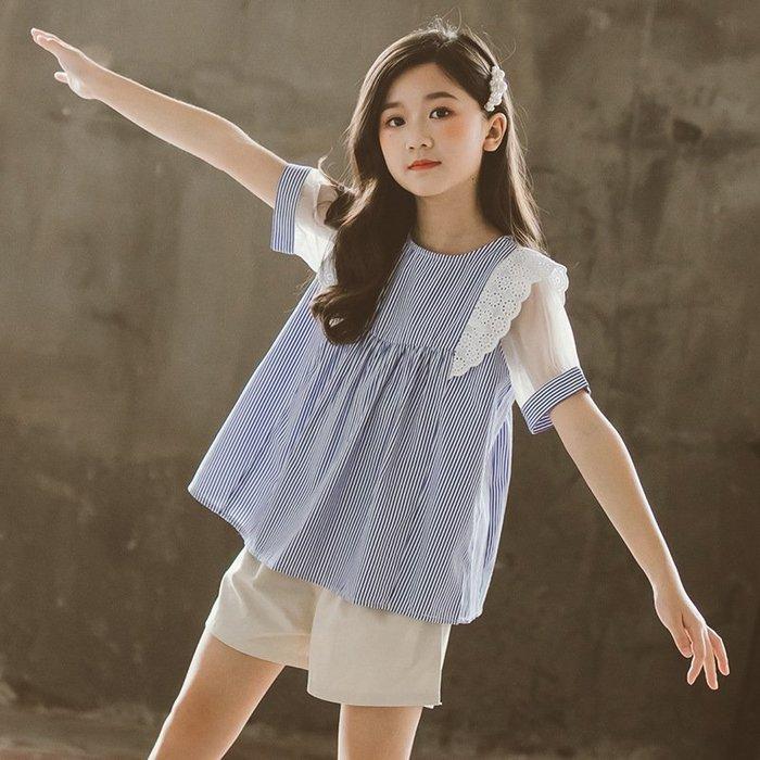•*~ 辣媽咪衣飾小舖 ~*•❤童裝系列❤K180207韓版大童夏款甜美可愛小女孩條紋飛袖上衣+短褲二件套