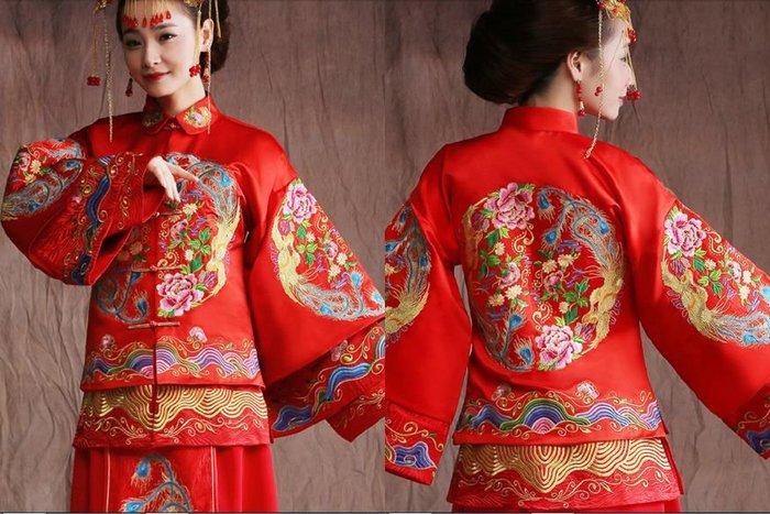 紫滕戀推出2016季新款中式結婚古裝喜服秀禾服新娘禮服唐裝秀和服紅色龍鳳褂。訂金