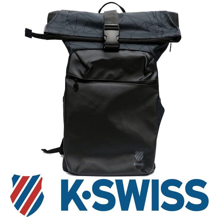 鞋大王K-SWISS BG037-007(黑×灰)、038(黑×藍) 26×15×48㎝休閒後背包【特價出清,免運費】