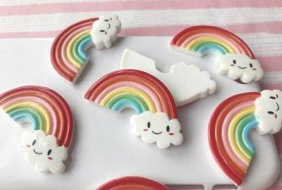 手作材料 手工 DIY材料 立體彩虹 手機貼飾 兒童髮飾 貼飾