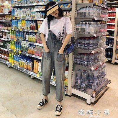 秋裝女裝韓版水洗做舊背帶連體褲牛仔褲寬鬆高腰顯瘦寬管褲九分褲