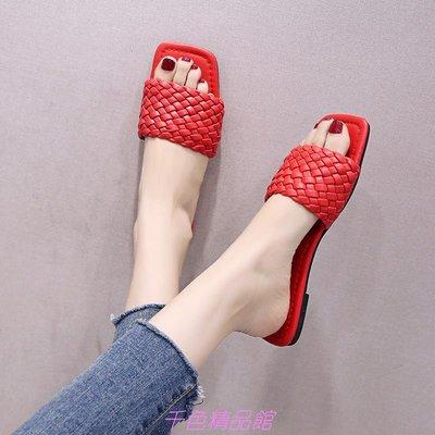 拖鞋女外穿ins潮新款夏季百搭平底方頭網紅可濕水一字涼拖鞋