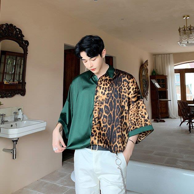 FINDSENSE品牌 訂製 G6 韓系男裝 時尚潮流豹紋拼接印花襯衫正韓短袖男白襯衫五分袖潮牌洋裝簡約寬鬆復古男上衣