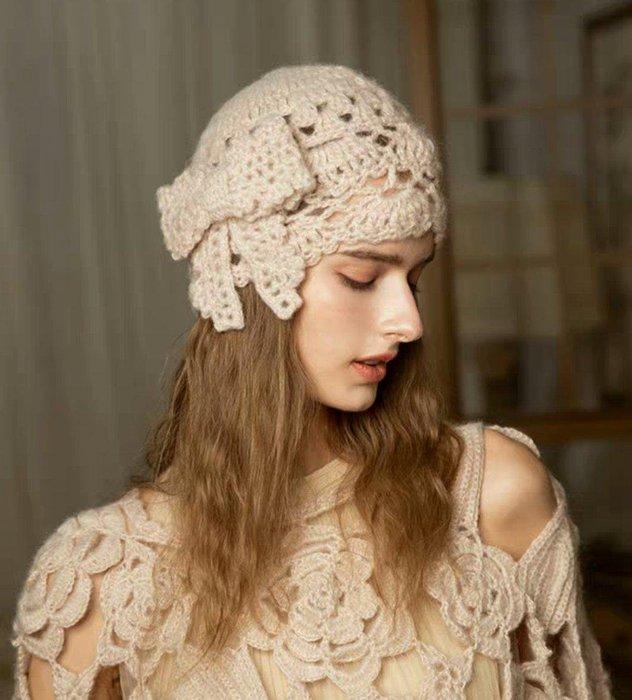HAT 手工編織復古宮廷風毛線蝴蝶結鏤空針織帽 毛線帽