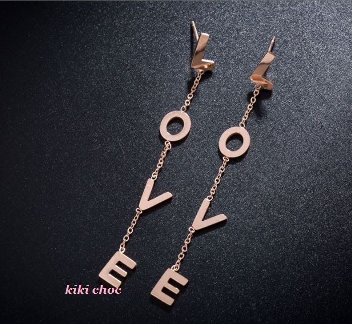 ♥ kiki choc ♥ *鈦鋼材質* 立體字母玫瑰金長耳環 鍊條流蘇垂墜耳環 明星著用