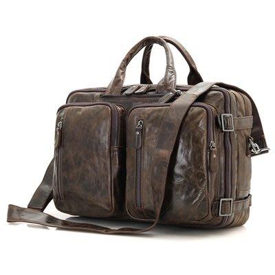 手提 包 真皮公事包-純色牛皮15.6吋多用途男包包4色73ur12[獨家進口][米蘭精品]