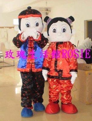 【演出show】~ 中國娃娃一對,過年,拜年,喜氣,年貨大街人偶